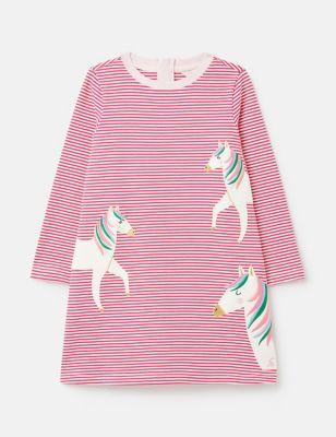 Pure Cotton Striped Pony Dress (2-8 Yrs)