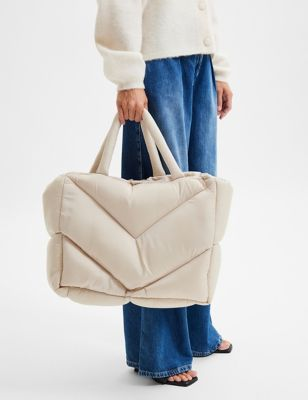 Nylon Quilted Tote Bag
