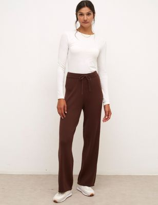 Ribbed Knitted Wide Leg Trousers