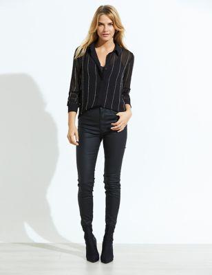 Sheer Embellished Stripe Long Sleeve Shirt