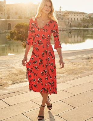 Jersey Floral V-Neck Midaxi Wrap Dress