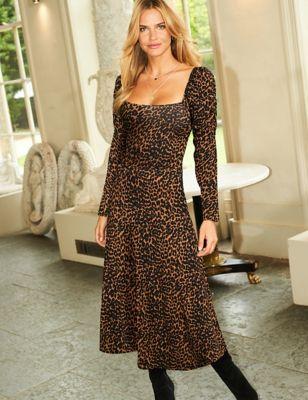 Animal Print Square Neck Midi Waisted Dress