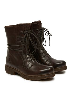 Leather Lace Up Block Heel Ankle Boots