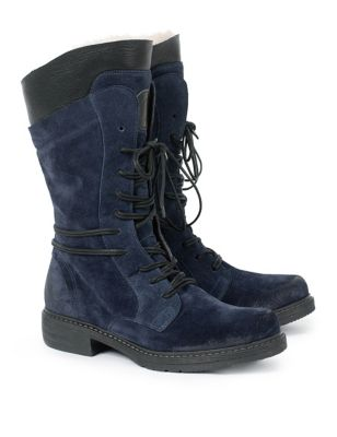 Sheepskin trim Block Heel Boots