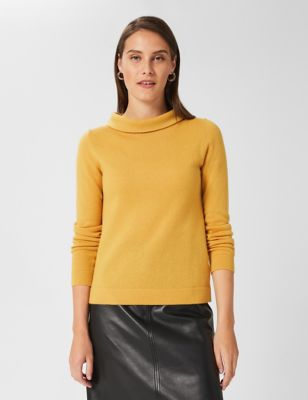Wool Roll Neck Relaxed Jumper with Cashmere