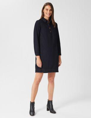 Denim Collared Mini Shift Dress