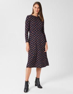 Jersey Dog Print Knee Length Skater Dress