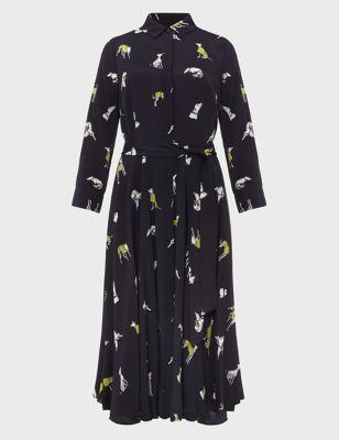 Dog Print Belted Midi Shirt Dress