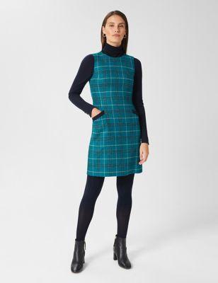 Pure Wool Checked Mini Shift Dress