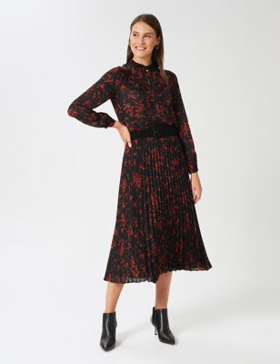Berry Print High Neck Long Sleeve Blouse