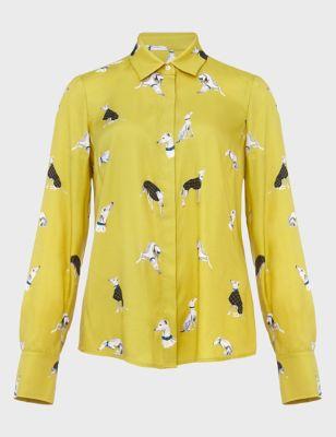 Dog Print Collared Long Sleeve Shirt