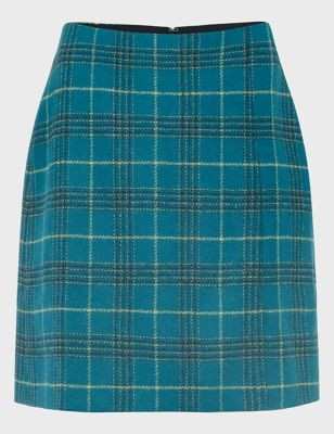 Pure Wool Checked Mini A-Line Skirt
