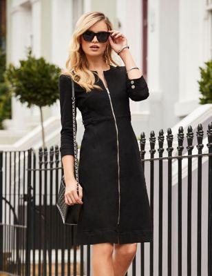 Denim V-Neck Knee Length Shift Dress