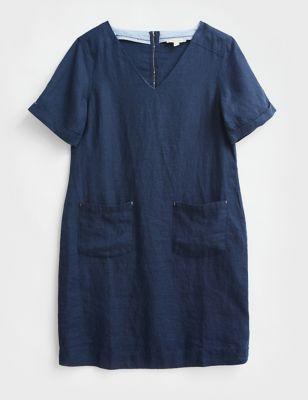 Pure Linen V-Neck Short Sleeve Shift Dress
