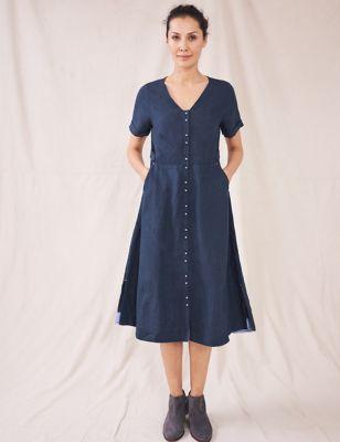 Pure Linen V-Neck Midi Shift Dress