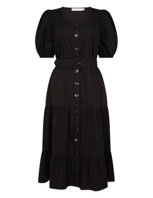 Pure Cotton Belted Midi Waisted Dress