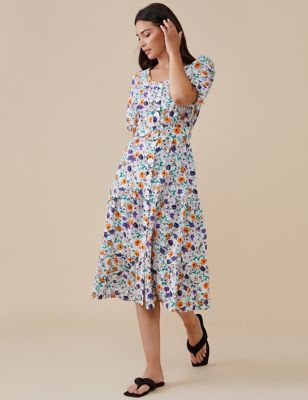 Pure Cotton Floral Midi Waisted Dress