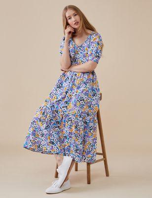 Pure Cotton Floral Midi Smock Dress