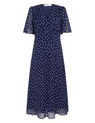 Polka Dot Short Sleeve Midi Tea Dress