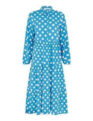 Polka Dot Button Through Midi Tiered Dress