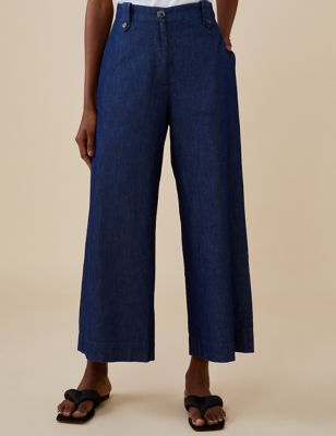Pure Cotton Wide Leg Cropped Trousers