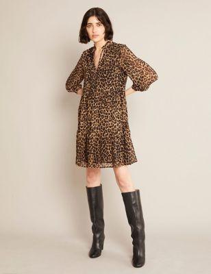 Animal Print Tie Neck Tiered Mini Dress