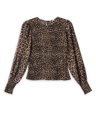Animal Print Shirred Long Sleeve Top