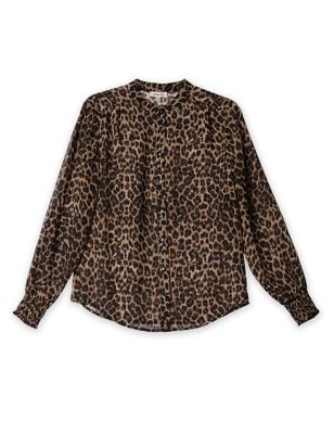 Animal Print Collarless Long Sleeve Blouse