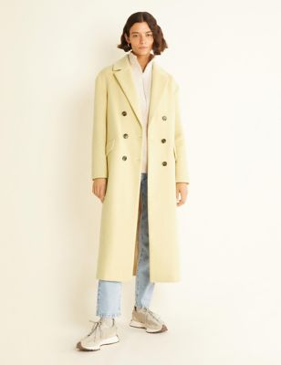 Double Breasted Longline Coat with Wool