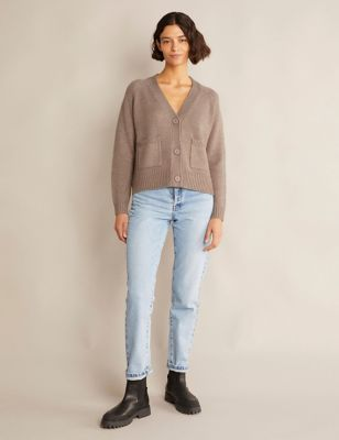 V-Neck Relaxed Cardigan with Wool