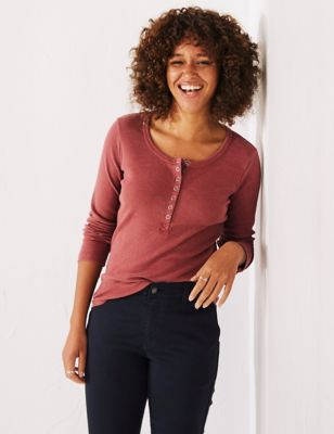 Cotton Round Neck Long Sleeve Top