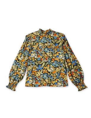 Floral High Neck Long Sleeve Top