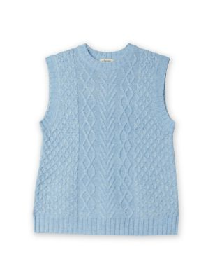 Cable Knit V-Neck Jumper with Wool