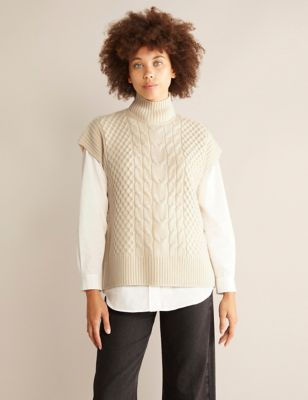 Cable Knit Funnel Neck Jumper with Wool