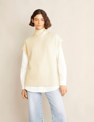 Funnel Neck Sleeveless Jumper with Wool