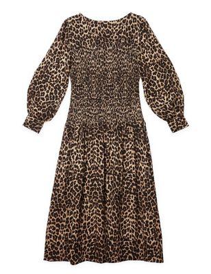 Animal Print Shirred Midi Waisted Dress