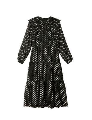 Polka Dot Collared Midi Waisted Dress