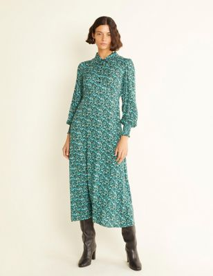 Floral Button Front Midaxi Waisted Dress