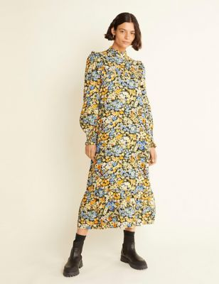 Floral High Neck Midi Wasted Dress