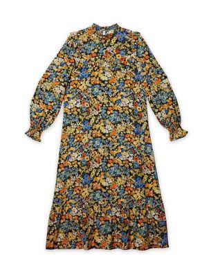 Floral High Neck Mini Tea Dress