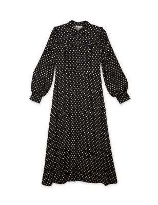 Polka Dot Frill Detail Midi Waisted Dress