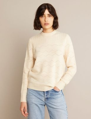 Pointelle Crew Neck Jumper with Wool
