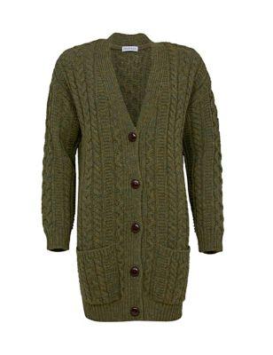 Pure Wool Cable Knit Boyfriend Cardigan