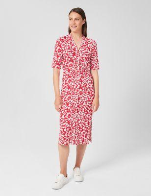 Jersey Floral Button Through Midi Dress