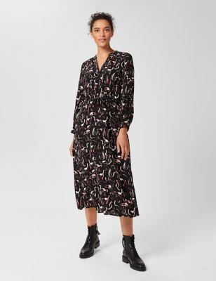 Printed Button Through Midi Waisted Dress