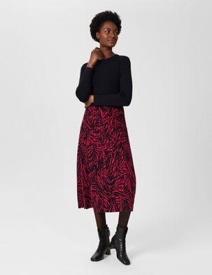 Knitted Animal Print Midi Swing Dress