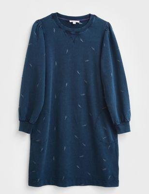Pure Cotton Embroidered Sweatshirt Dress