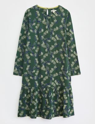 Pure Cotton Floral Knee Length Tiered Dress