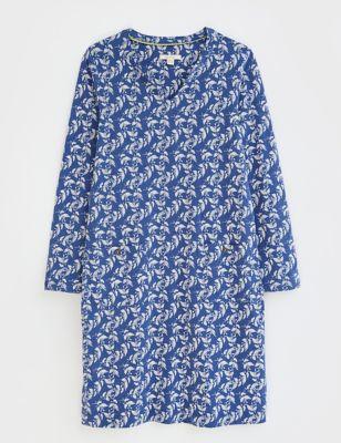 Pure Cotton Leaf Print Shift Dress