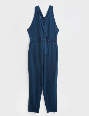 Pure Cotton Sleeveless Wrap Jumpsuit